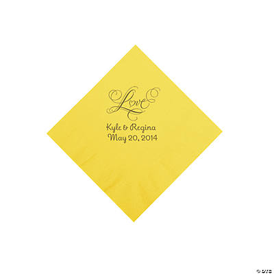 "Personalized Gold ""Love"" Beverage Napkins - Yellow"