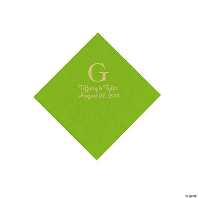 Personalized Gold Monogram Beverage Napkins - Lime Green