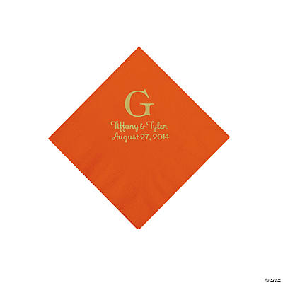 Personalized Gold Monogram Beverage Napkins - Orange