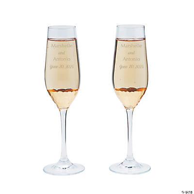 Personalized Gold Scallop Champagne Flutes