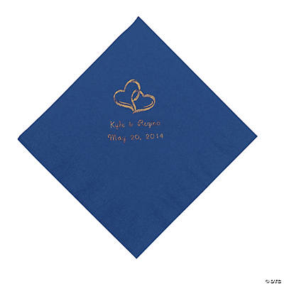 Personalized Gold Two Hearts Beverage Napkins - Blue