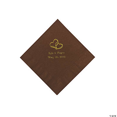 Personalized Gold Two Hearts Beverage Napkins - Chocolate