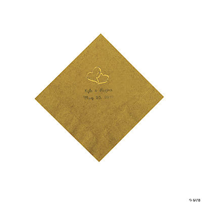 Personalized Gold Two Hearts Beverage Napkins - Gold