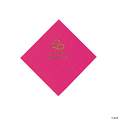 Personalized Gold Two Hearts Beverage Napkins - Hot Pink
