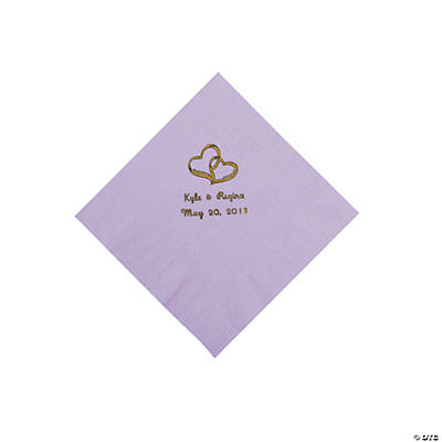 Personalized Gold Two Hearts Beverage Napkins - Lilac
