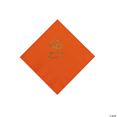 Personalized Gold Two Hearts Beverage Napkins - Orange