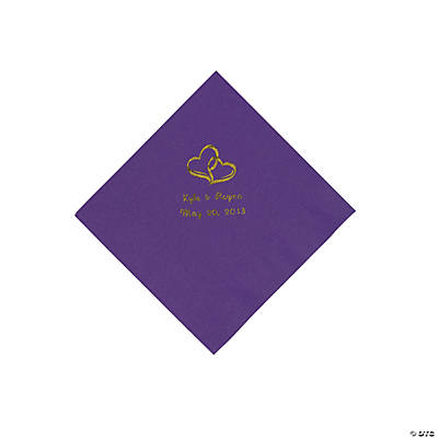 Personalized Gold Two Hearts Beverage Napkins - Purple