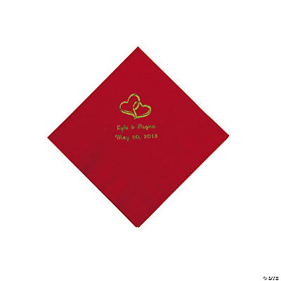 Personalized Gold Two Hearts Beverage Napkins - Red
