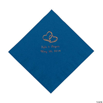Personalized Gold Two Hearts Luncheon Napkins - Blue