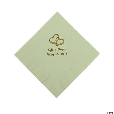 Personalized Gold Two Hearts Luncheon Napkins - Sage Green