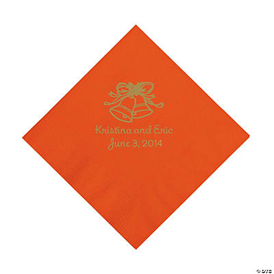 Personalized Gold Wedding Bell Luncheon Napkins - Orange