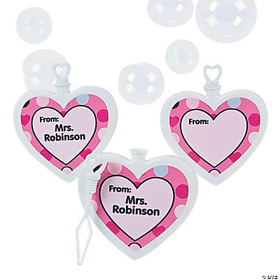 Personalized Heart-Shaped Bubble Bottles