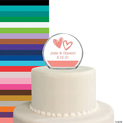 Personalized Hearts Round Cake Topper