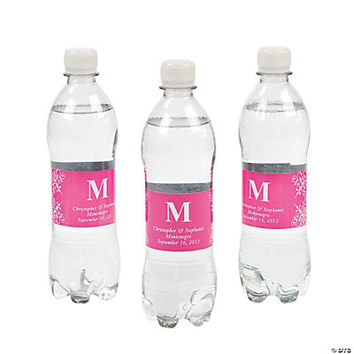 Personalized Hot Pink Monogram Bottle Labels