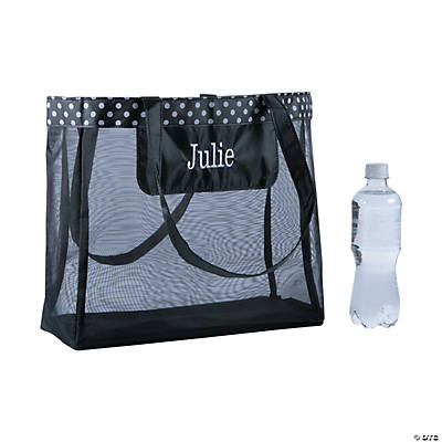 Personalized Large Black Mesh Tote Bag