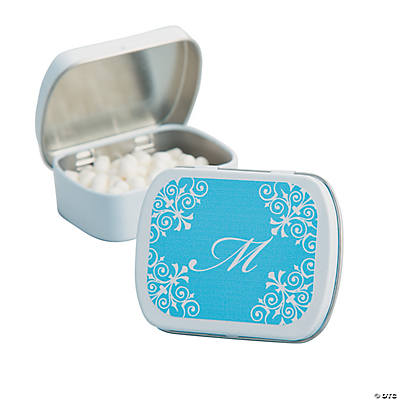 Personalized Light Blue Script Mint Tins