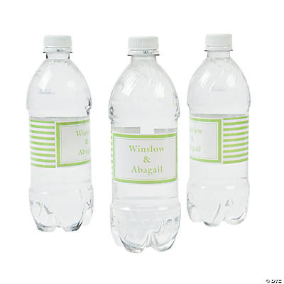 Personalized Lime Green Striped Water Bottle Labels