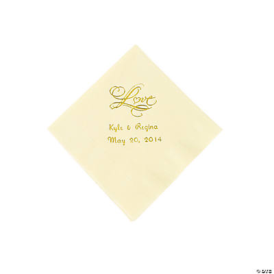 "Personalized ""Love"" Beverage Napkins - Ivory"