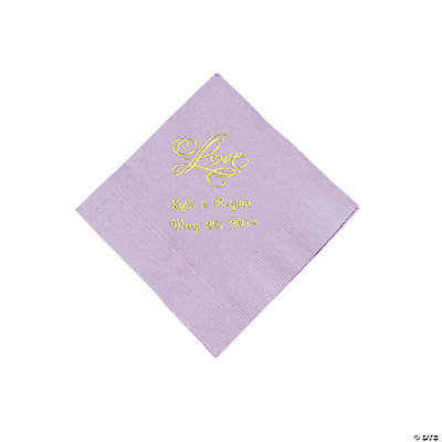 "Personalized ""Love"" Beverage Napkins - Lilac"