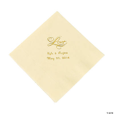 "Personalized ""Love"" Luncheon Napkins - Ivory"