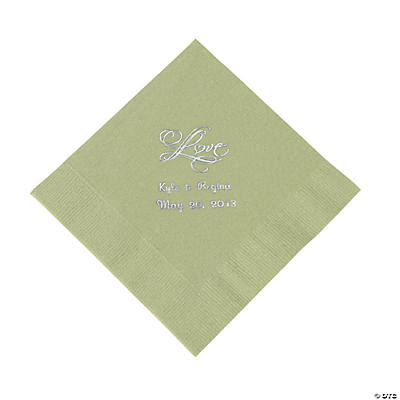"Personalized ""Love"" Luncheon Napkins - Sage Green"