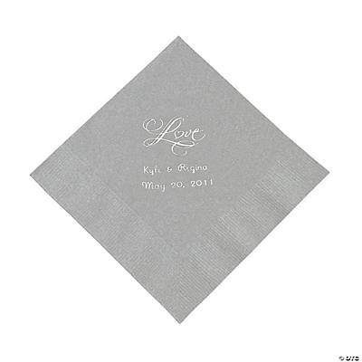 "Personalized ""Love"" Luncheon Napkins - Silver"