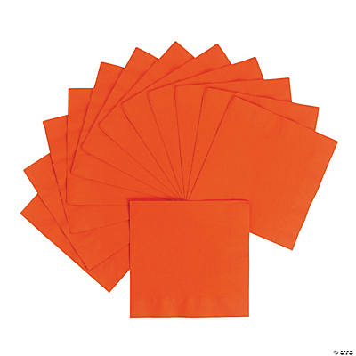 Personalized Luncheon Napkins - Orange with Silver Print