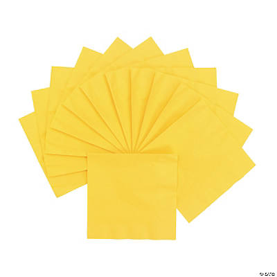 Personalized Luncheon Napkins - Yellow with Silver Print