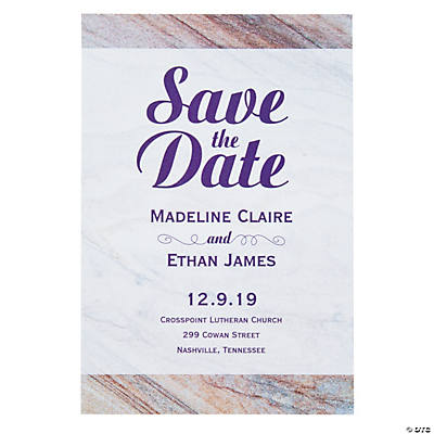 Personalized Marble Save the Date Cards