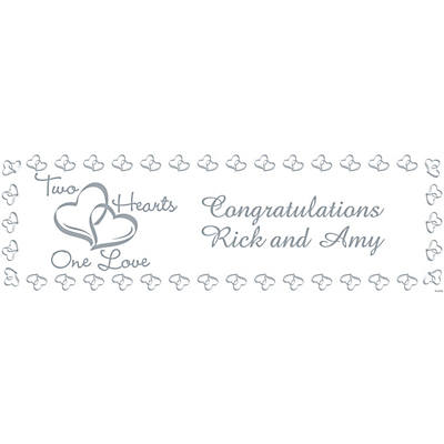 Personalized Medium Two Hearts Wedding Vinyl Banner