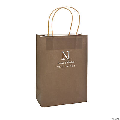 Personalized Monogram Chocolate Brown Kraft Paper Bags
