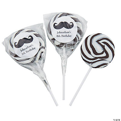 Personalized Mustache Black Swirl Pops
