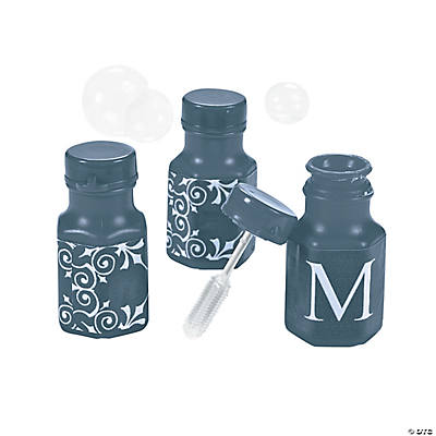 Personalized Navy Monogram Wedding Mini Bubble Bottles