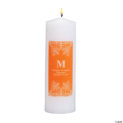 Personalized Orange Monogram Pillar Candles