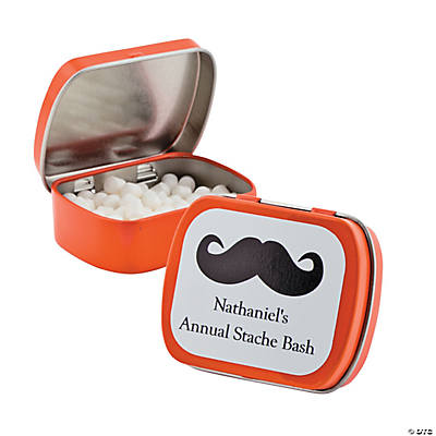 Personalized Orange Mustache Mint Tins