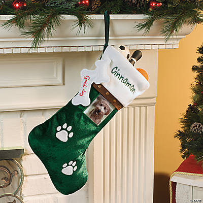 Personalized Pet Christmas Stocking - Dog/Green