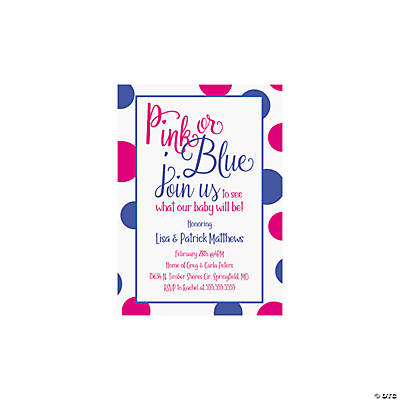 Personalized Pink or Blue Gender Reveal Party Invitations