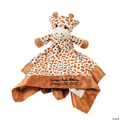 Personalized Plush Giraffe Baby Blanket
