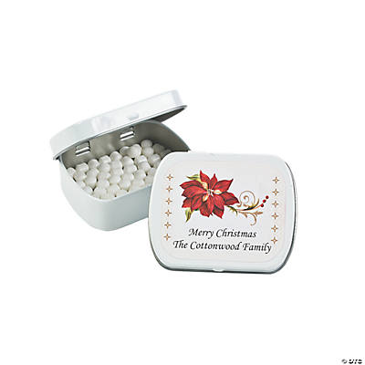 Personalized Poinsettia Tins with Mints