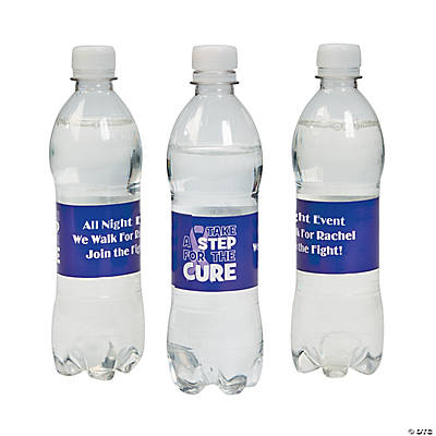 Personalized Purple Ribbon Awareness Water Bottle Labels