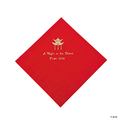 Personalized Red Asian Luncheon Napkins