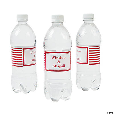 Personalized Red Striped Water Bottle Labels