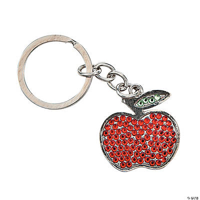 Personalized Rhinestone Teacher Apple Key Chain