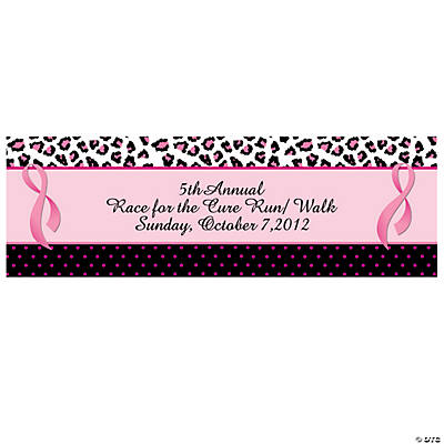Personalized Sassy Pink Ribbon Small Banner