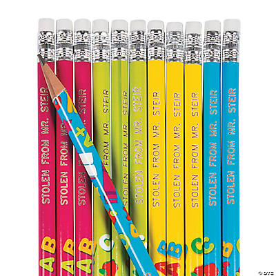 Personalized School Theme Print Pencils