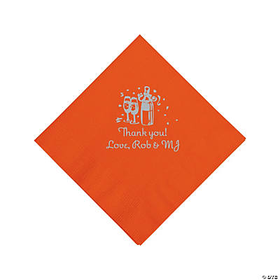 Personalized Silver Champagne Beverage Napkins - Orange