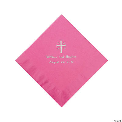 Personalized Silver Cross Beverage Napkins - Candy Pink