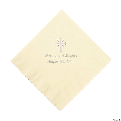 Personalized Silver Cross Beverage Napkins - Ivory