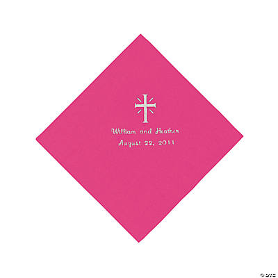 Personalized Silver Cross Luncheon Napkins - Hot Pink