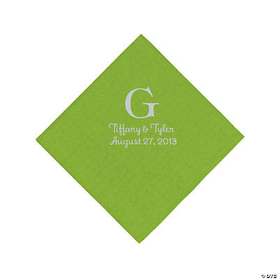 Personalized Silver Monogram Beverage Napkins - Lime Green